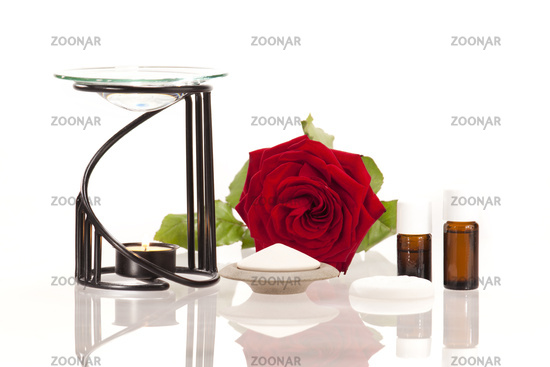 Room fragrance with aroma lamp and scented stones