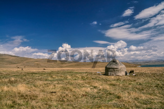 Traditional yurt of nomadic tribe on green grasslands in Kyrgyzstan