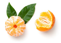 Peeled Mandarin Orange With Green Leaves Isolated
