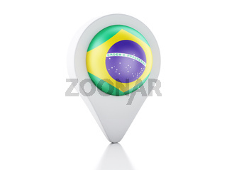 3d Map pointer Brazil flag icon on white background