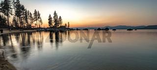 november sunset over lake tahoe in california