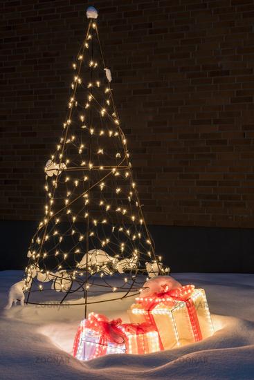 illuminated Christmas decoration, Lapland, Sweden