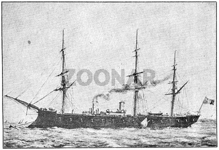 Le Tourville (1874) - a broadside ironclad of French Navy. Illustration of the 19th century. Germany. White background.