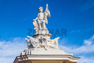 Detail view on Sculpture on a Side Building of Castle Karlsruhe, Baden-Wuerttemberg, Germany. Europe