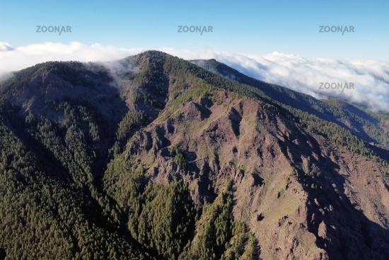 Aerial volcanic landscape formed by the crater of a volcano in Guimar, Tenerife, Canary Islands. High quality 4k footage