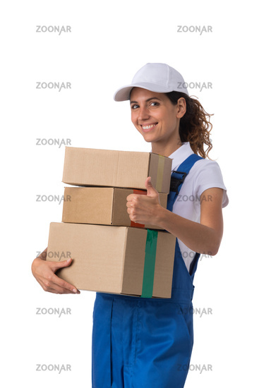 Delivery woman isolated on white