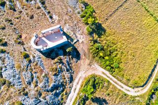 Saint Lovre church ruin in Vrsi aerial view
