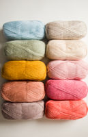 The set of threads for knitting in pastel colors