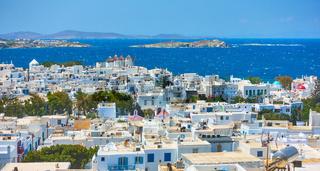 Panoramic view of Mykonos town