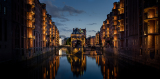 The warehouse district (Speicherstadt) of Hamburg in the early evening