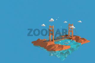 3D illustrator Golden Gate Bridge in USA. 3d rendering Low Polygon Geometry Background. Abstract Polygonal Geometric Shape. Lowpoly Minimal Style Art.
