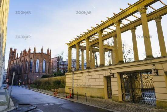 Friedrichswerder Church and arcades of Kronprinzenpalais, Berlin, Germany