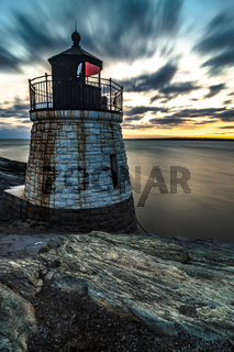 sunset in newport rhode island at castle hill lighthouse
