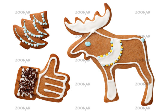 Gingerbread Cookies Isolated On White Background
