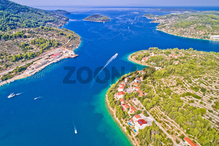 Korcula island. Bay entrance of Vela Luka aerial view,