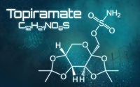 Chemical formula of Topiramate on a futuristic background