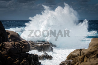 Waves Pounding the Coastline at Capo Testa
