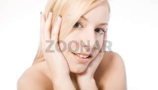 Studio portrait of a cute young blond woman