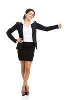 Business woman embracing something