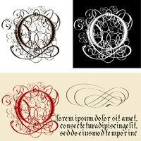 Decorative Gothic Letter O. Uncial Fraktur calligraphy.
