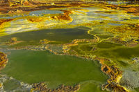 Acid brine pool with sulphuric sediments, geothermal field of Dallol, Danakil depression, Ethiopia