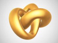 3D golden torus knot isolated on white background.