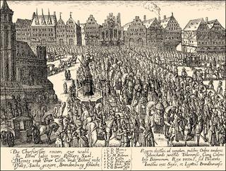 1619, The coronation of Ferdinand II, 1578 - 1637, Holy Roman Emperor