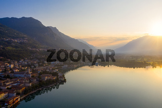 Drone shot of Lake Iseo at sunrise