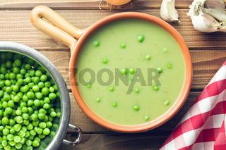 pea soup in ceramic bowl
