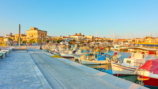 Panoramic view of the port of Aegina