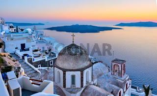 Santorini island and the sea at sunset - Greek landscape