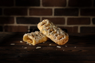 Caramel strudel with almond flakes