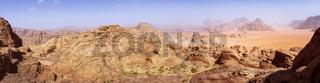 panorama of the Wadi Rum desert in Jordan as seen from Burdah Rock Mountain.