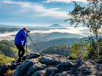 Man takes photo of nature and environment theme
