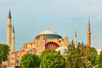 Hagia Sophia mosque in Istanbul in the evening