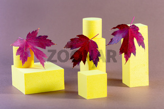 Abstract background with yellow geometric objects.