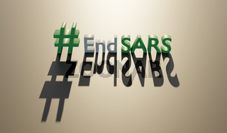 End sars in flat style. Police violence. Stop violence. Police brutality. No justice no peace. 3d render