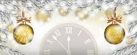 Christmas Frozen Twigs Snowfall 2 Golden Baubles Clock Header