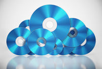Bluray discs arranged as a cloud symbol. Data storage concept. 3D illustration