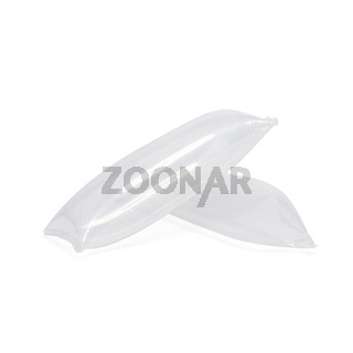 Inflatable air buffer plastic bags isolated on white background. Cushion blocking bag that creates protection for goods inside parcel during delivery. Object isolated on white with clipping path