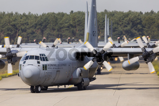 Eindhoven Netherlands sept. 20. 2019: Several C-130 Hercules aircraft enter the platform to pick up paratroopers for then Market Garden memorial and Falcon Leap exercise.