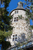 Low angle view at a tower of Stolberg castle in Stolberg, Eifel