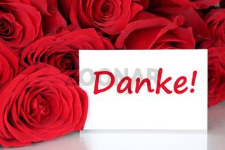 Karte mit danke und rote Rosen Blumen