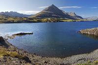 Berufjoerdur fjord with the mountain Godaborg, Teigarhorn, East Iceland, Iceland, Europe