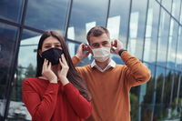 business team with protective medical mask