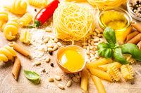 Healthy raw ingredients for italian pasta sauce Carbonara