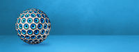 Speakers sphere on a blue studio banner