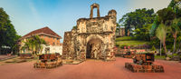 Surviving gate of the A Famosa fort in Malacca, Malaysia. Panorama