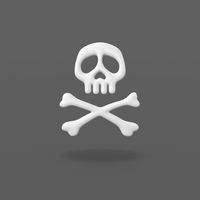 Pirate Skull Symbol on Dark Gray Background