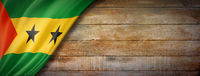 Sao Tome and Principe flag on vintage wood wall banner